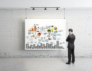 Mann steht vor Marketingplan-Poster